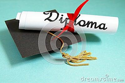Diploma and grad cap