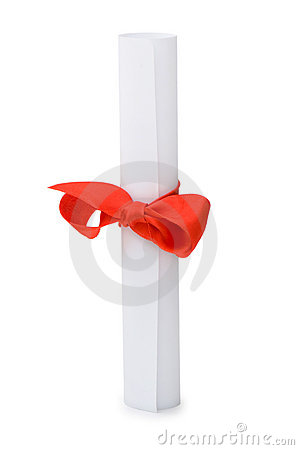 Diploma with red ribbon isolated