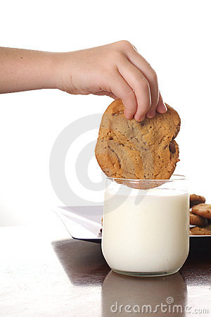 Dipping Cookie In Milk Vertical Stock Photography - Image: 3641072