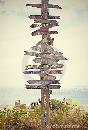 Directional Sign Post On The Beach Stock Photography Image 29928132