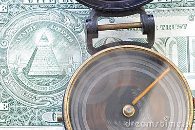 Direction & $ US dollar 3485 Spinning compass, one dollar bill