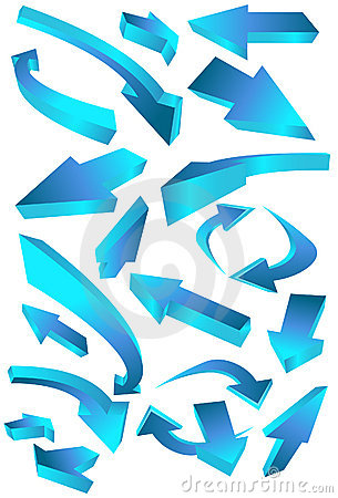 Free Directional Arrow Icons - Blue Stock Photos - 9292713