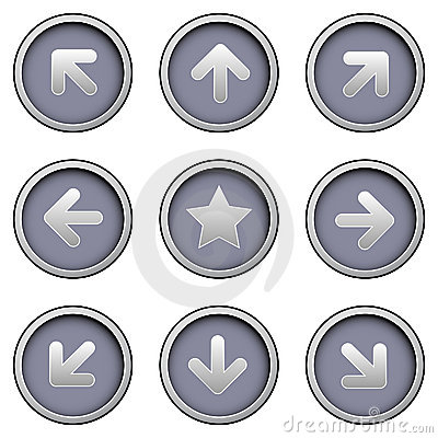 Free Directional Arrow Icons On Modern Vector Buttons Stock Images - 8678494