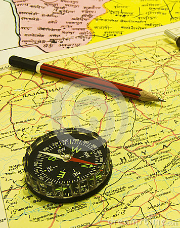 Free Directional Compass  And Pencil Over Map Stock Photos - 44440443