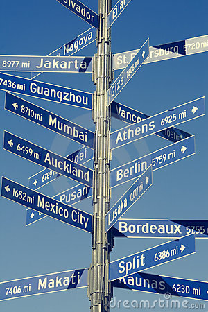 Directional Mileage Sign for World Cities