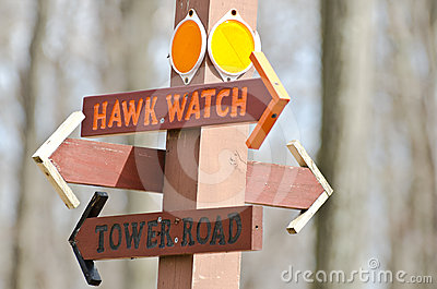 Directional Sign Pointing Way To The Hawk Watch