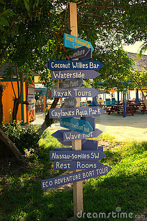 Directional sign post in Coco cay