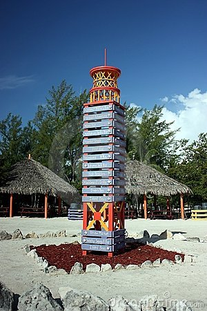 Directional sign tower in Coco cay