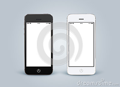 Directly front view of black and white smartphones with blank sc