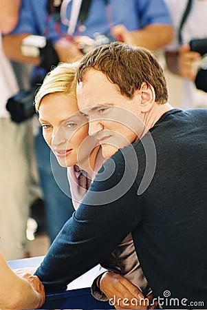 : Director Quentin Tarantino and actress Uma Thurm Editorial Stock Image