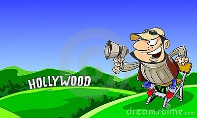 Director shout in a megaphone. Editorial Stock Image