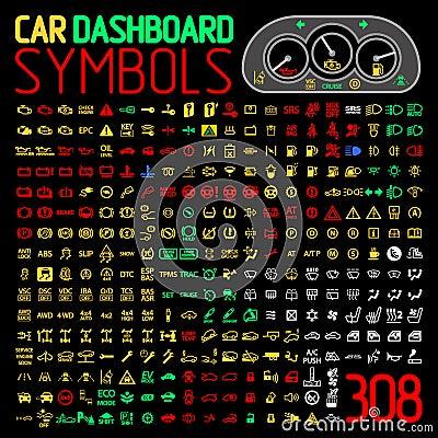 dirigez la collection d 39 indicateurs de panneau de tableau de bord de voiture et de voyants d. Black Bedroom Furniture Sets. Home Design Ideas