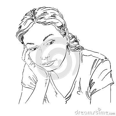 Dirigez le dessin d 39 art portrait de fille triste et d prim e pensant illustration de vecteur - Dessin triste ...