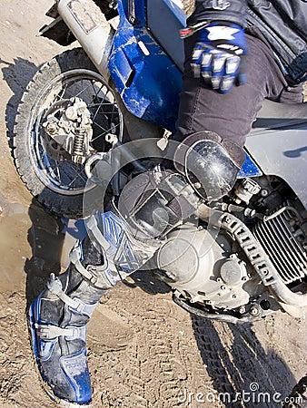 Dirt bike rider leg