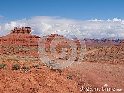 Dirt road into desert landscape