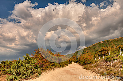 Dirt road on the italian mountains