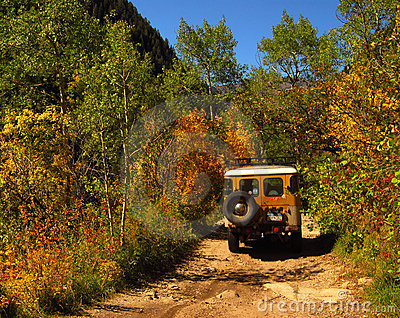 Dirt road and Jeep
