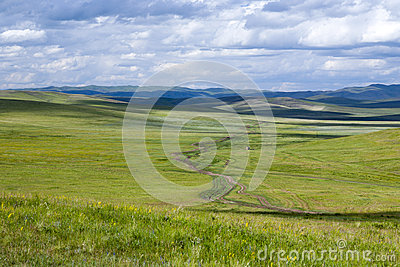 Dirt Road through the Mongolian Steppes