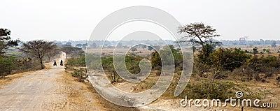 Dirt Road in Myanmar Landscape Editorial Stock Image