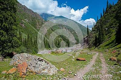 Dirt road in Tien Shan mountains, Kyrgyzstan