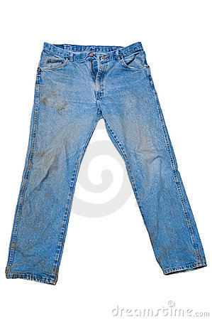 Free Dirty Blue Jeans With Legs Spread Stock Photos - 1531523