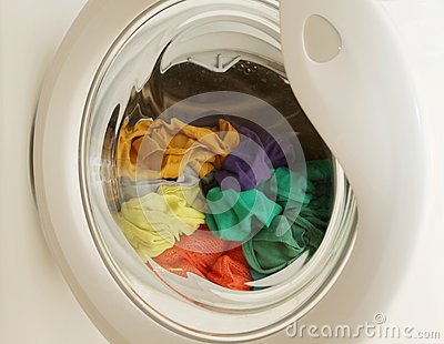 Spring cleaning - Dirty clothes in washing machine