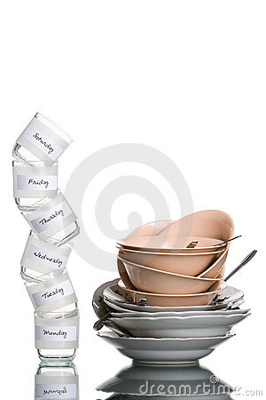 Free Dirty Dishes In Six Days Stock Photography - 5609282