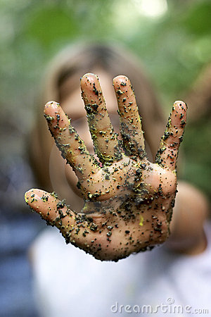 Free Dirty Hand Held Up In The Stop Position Royalty Free Stock Image - 1111676