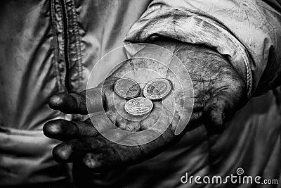 Dirty hands of a beggar
