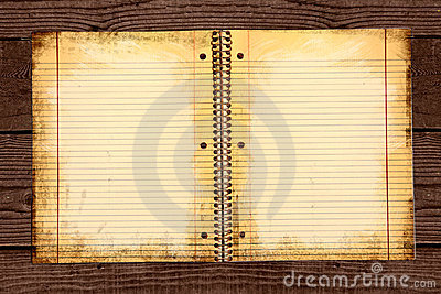 Dirty Lined School Paper in a Binder