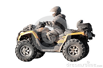 Dirty off-road yellow ATV with rider isolated
