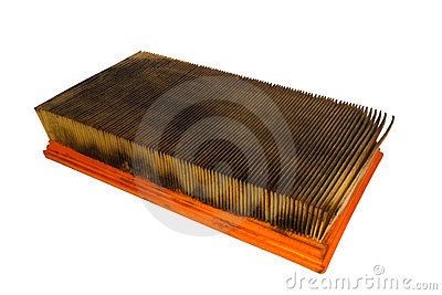 Dirty and Oily Used Automobile Air Filter Isolated
