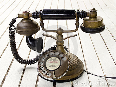 Dirty old classic retro style analog telephone