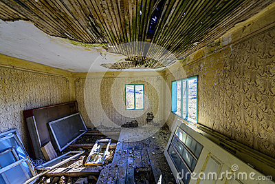 A dirty old ruined room