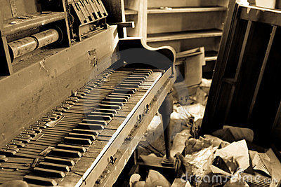 Dirty Piano With Trashed Furniture