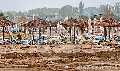 A dirty polluted beach