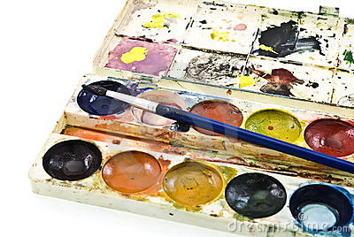 Dirty watercolor paints