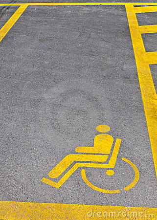 Disability parking sign on road