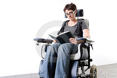 Disabled adult woman in a wheelchair
