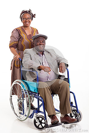 Disabled African man wife