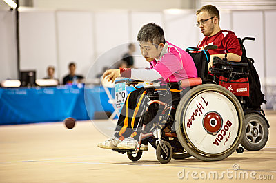 Disabled athlete plays Bocce  Editorial Stock Image