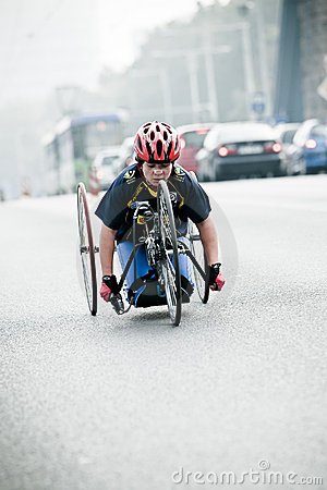 Disabled athlete at Wroclaw Marathon Editorial Image