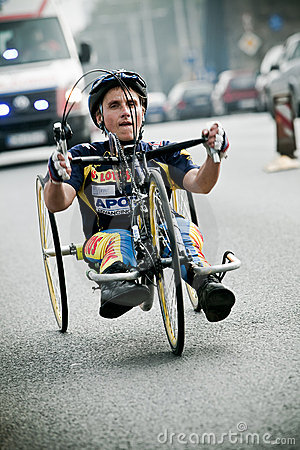 Disabled athlete at Wroclaw Marathon Editorial Stock Photo