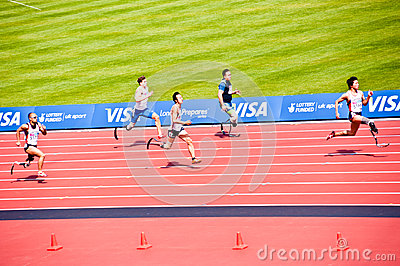 Disabled Athletes in the London Olympic stadium Editorial Photography