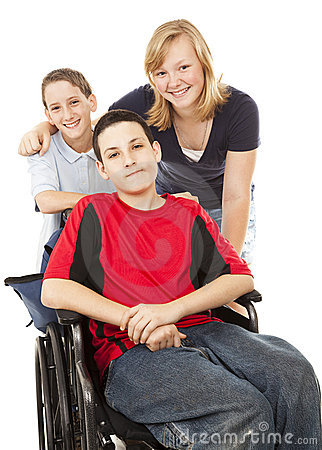 Free Disabled Boy And Siblings Stock Image - 13352261
