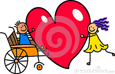 Disabled Boy with Big Heart Love Stock Photo