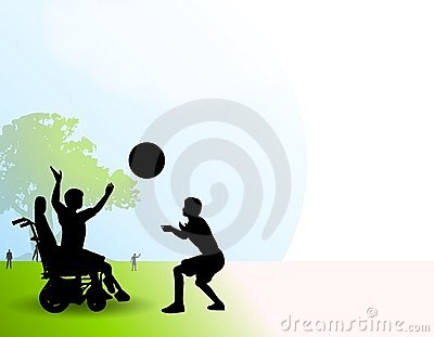 Disabled Boy Playing Ball Park