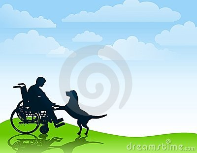 Disabled Boy Playing With His Dog