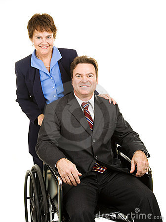 Disabled Businessman and Colleague