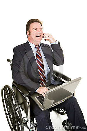 Free Disabled Businessman - Pleasant Chat Stock Photography - 5191802